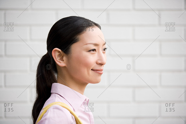 Side view of a Japanese woman