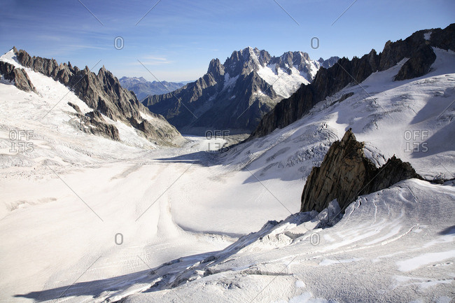 Mountains and glacier near mont blanc