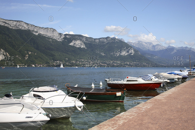 Boats on lake Annecy