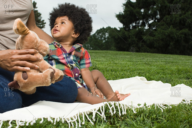 Baby and mother on blanket in park