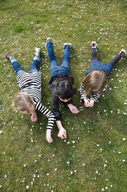 Three girls lying on grass