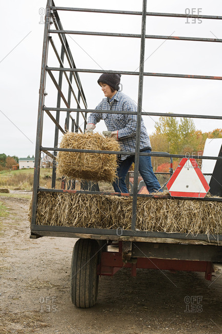 Farmer and tractor of hay