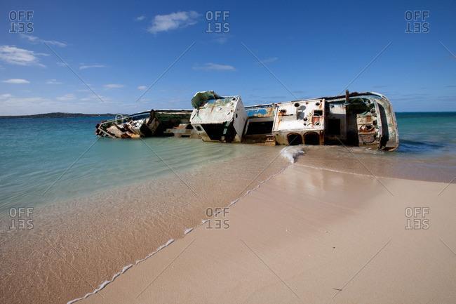 Shipwreck on remote island.