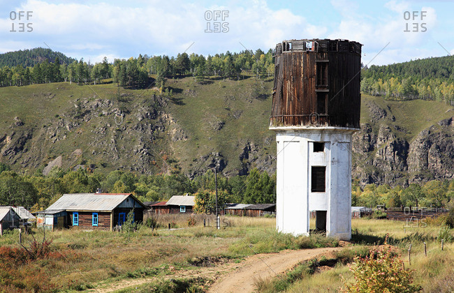 Siberian village and water tower