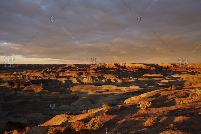 Desert canyon in shadow at sunset