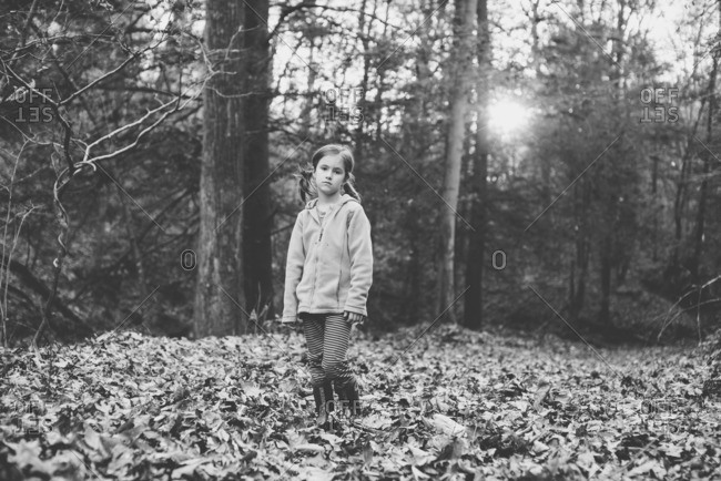 Girl standing in the woods in autumn leaves