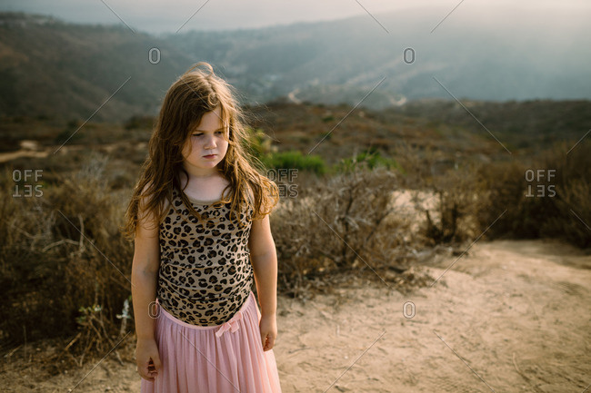Portrait of a young girl in leopard print top and pink skirt