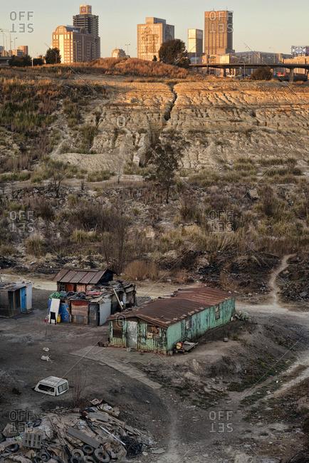 Johannesburg, South Africa - August 7, 2013: Shacks built in a mine dump, Johannesburg