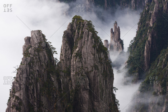 Huang Shan, which means Yellow Mountain. Anhui Provice in China. Jagged rock towers.