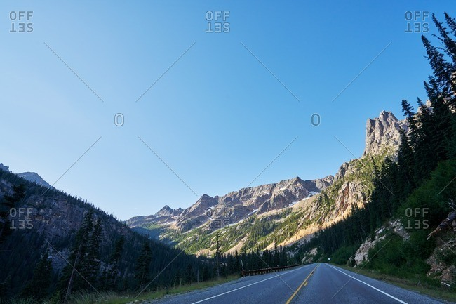 A two lane road in North Cascades National Park, Washington