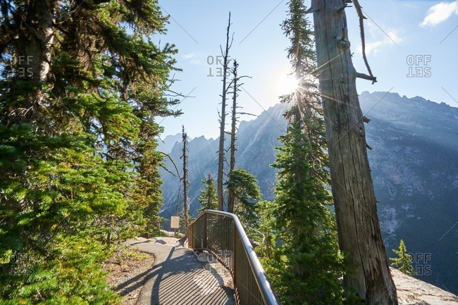 Path along the mountains in North Cascades National Park, Washington