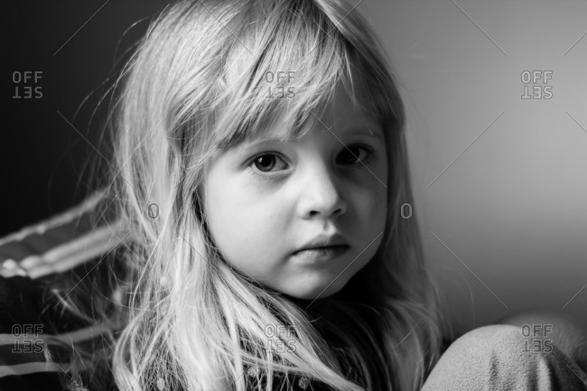 Portrait of little girl in side lighting
