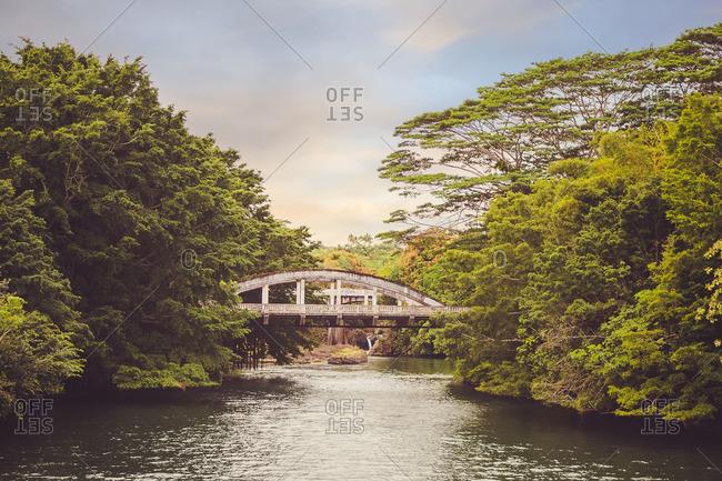 Bridge over river in Hawaii