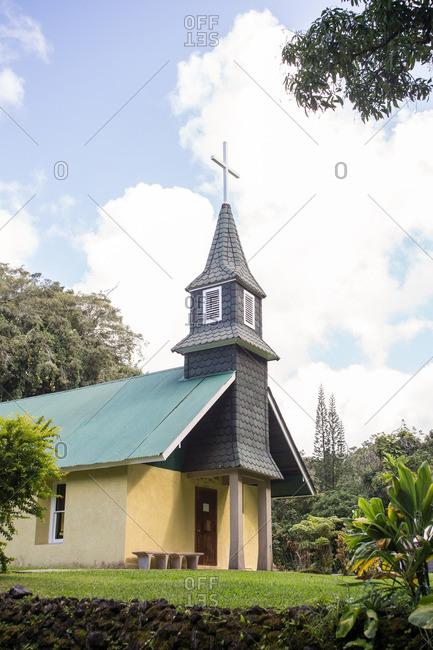 Chapel in Hawaii in tropical setting