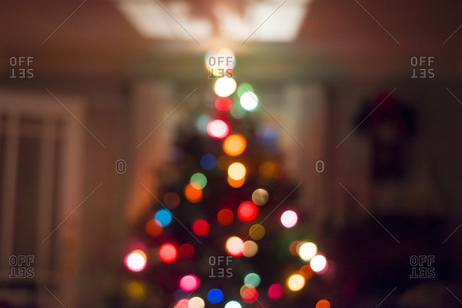 An out of focus Christmas tree
