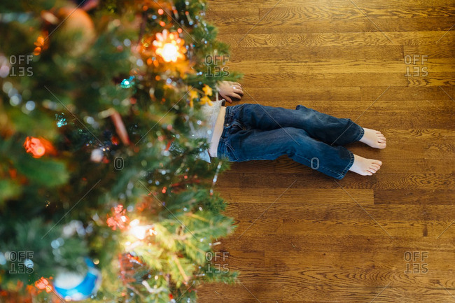 Child's legs sticking out from under a Christmas tree