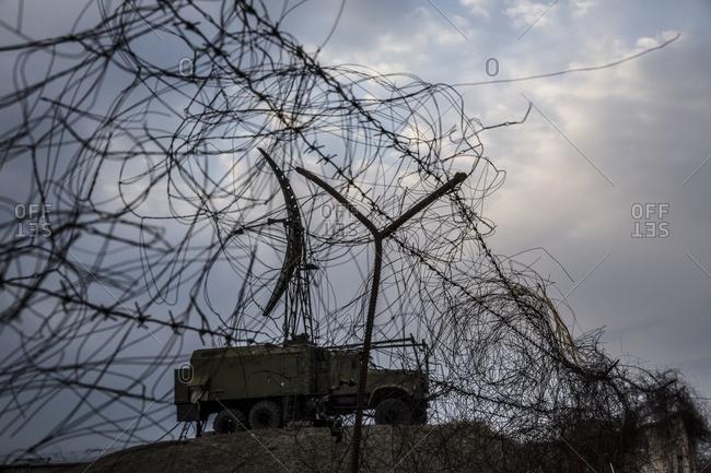 Tank in military base in Gyumri, Armenia