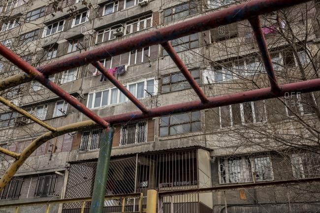Soviet building and playground in Yerevan, Armenia