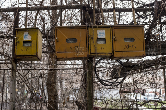 Old electricity boxes in Yerevan, Armenia