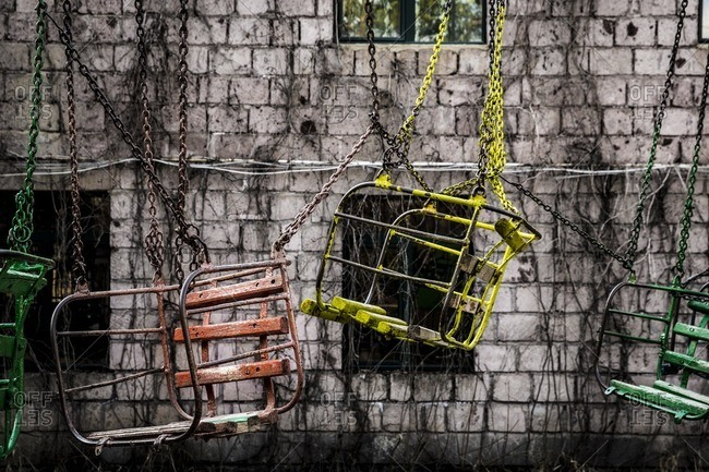 Abandoned ride in park in Armenia