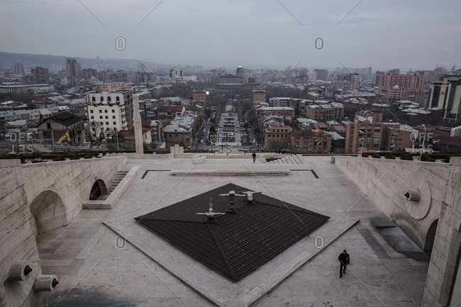 Yerevan, Armenia - March 3, 2016: Cityscape from Cascade monument