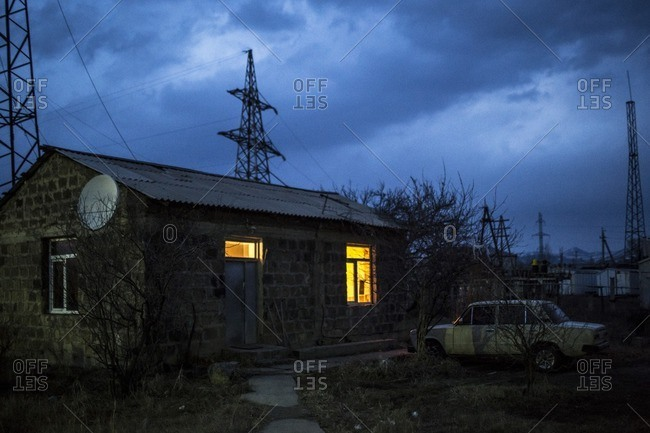Gyumri, Armenia - March 4, 2016: Soviet era car outside home