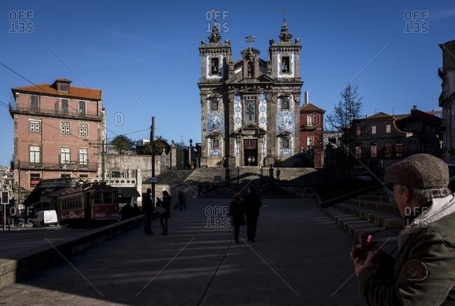 Porto, Portugal - January 16, 2016: Santo Ildefonso tiled church