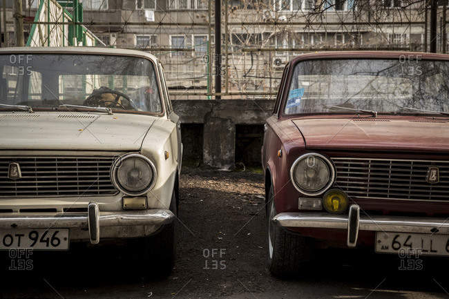Yerevan, Armenia - March 3, 2016: Lada cars parked