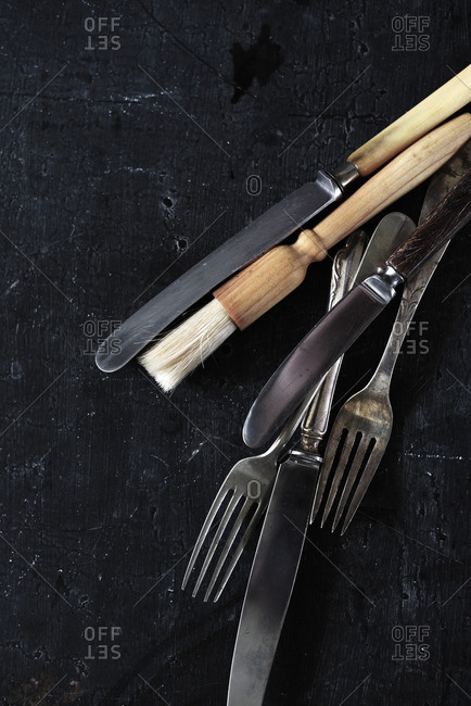 Cutlery on black background