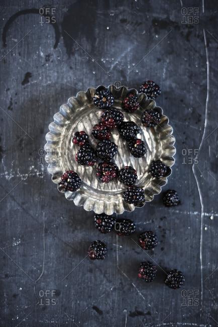 Blackberries in a silver baking mold