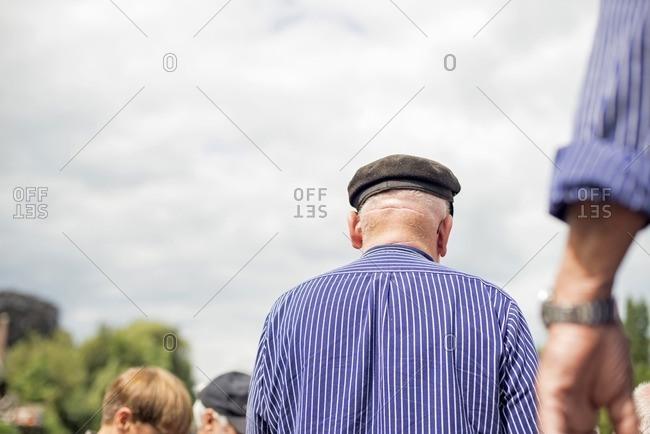 Rear view of traditional Dutch senior skipper, Berkelzomp, Lochem, Achterhoek, Gelderland, The Netherlands