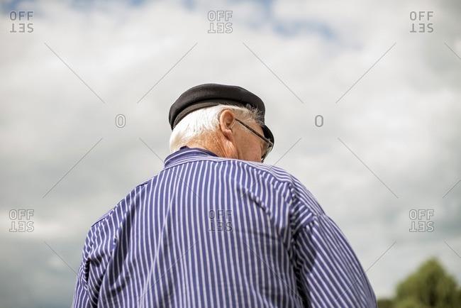 Rear view of traditional Dutch senior ship captain, Berkelzomp, Lochem, Achterhoek, Gelderland, The Netherlands