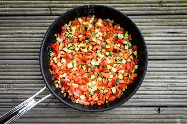 Chopped summer vegetables in skillet