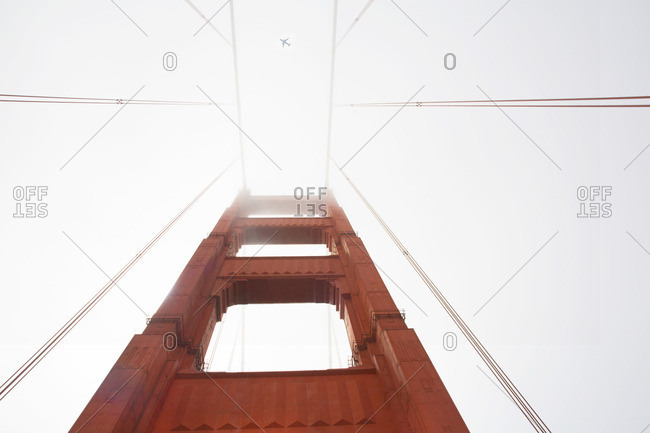 Close-up of tower and cables on the Golden Gate Bridge