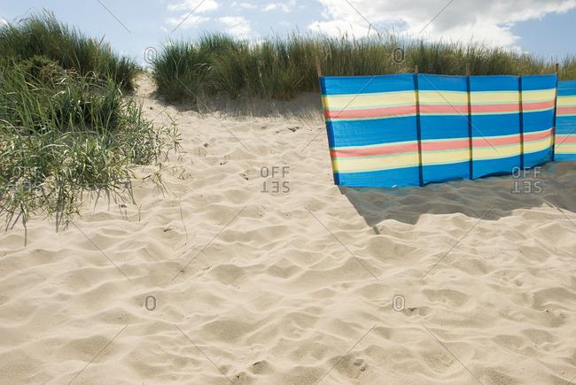 Windbreak on beach