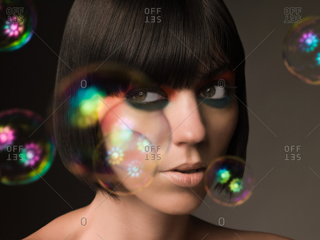 Young woman and bubbles