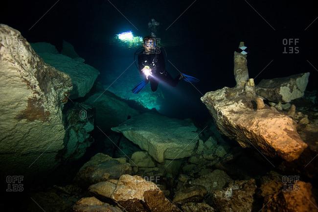 Scuba diver in  cavern