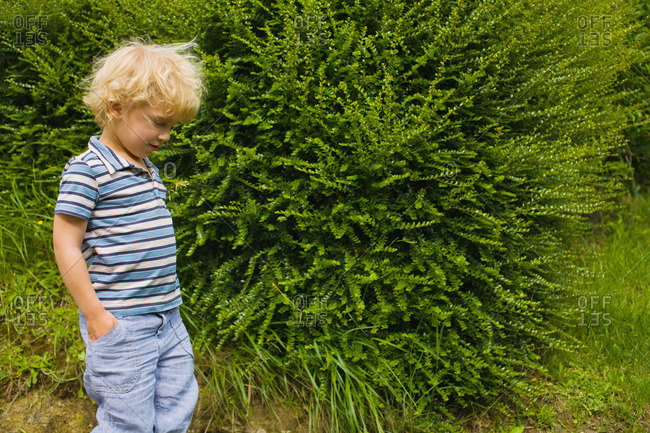 A boy walking past a bush