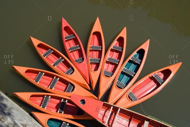 Canoes on ljubljanica river