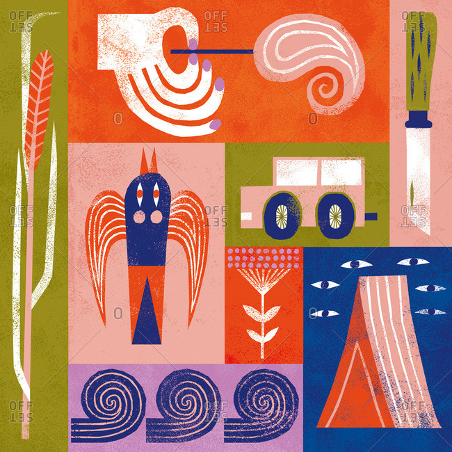 Collage of objects including match, wheat shaft, waves, tent, vehicle and flower