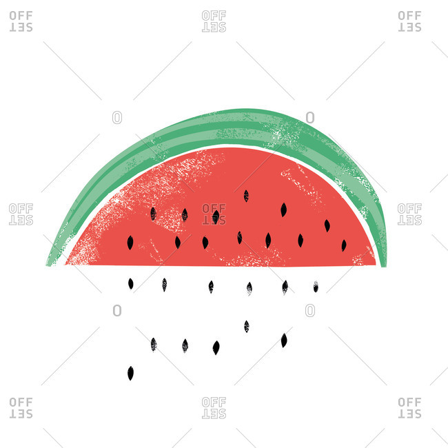Slice of watermelon with seeds falling out