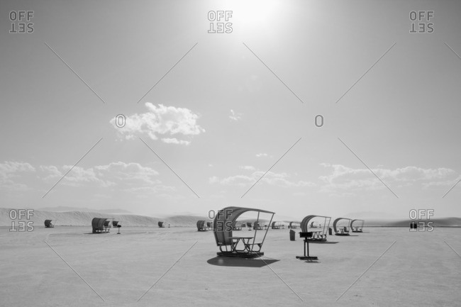 Several covered picnic tables at the White Sands National Monument, New Mexico