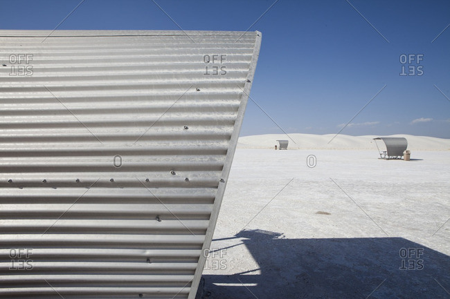 Close up of metal roof on a covered picnic table at the White Sands National Monument, New Mexico