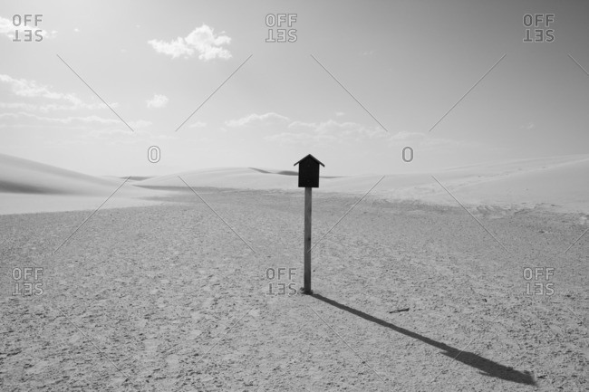 Post with a bird house at the White Sands National Monument, New Mexico