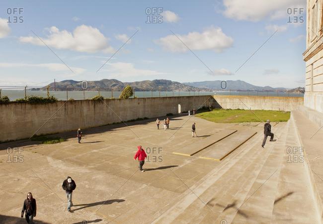 Alcatraz Island, San Francisco, California - January 11, 2013: View of San Francisco Bay from the recreation yard at Alcatraz Prison