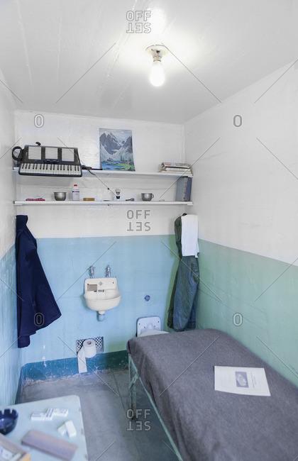 Alcatraz Island, San Francisco, California - January 11, 2013: Recreated prison cell at historic Alcatraz Federal Penitentiary, California
