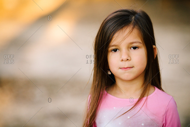 Portrait of a little girl in a pink shirt