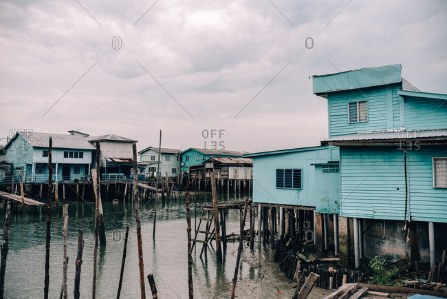 Floating houses on Crab Island, Malaysia