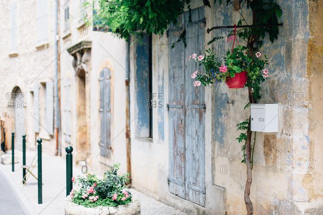 Doorways of rustic homes on historic street