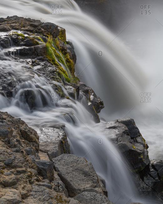 Icelandic waterfall at remote interior location in Kjoslur highlands